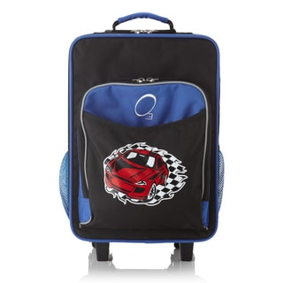 """Obersee Kids """"Racecar"""" 16-inch Rolling Carry On Cooler Upright"""