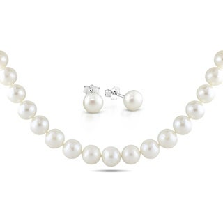 Miadora Sterling Silver Freshwater Pearl Necklace and Earring Set (8-11 mm)