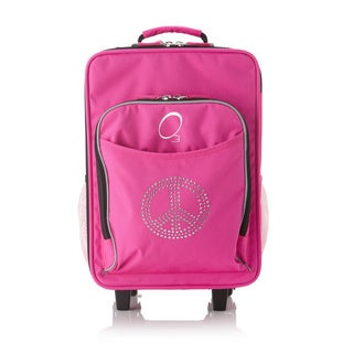Obersee Kids 'Rhinestone Peace' 16-inch Rolling Carry On Cooler Upright