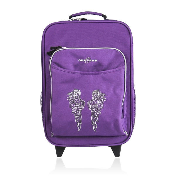 """O3 Kids """"Rhinestone Angel Wings"""" 16-inch Rolling Carry On Cooler Upright"""