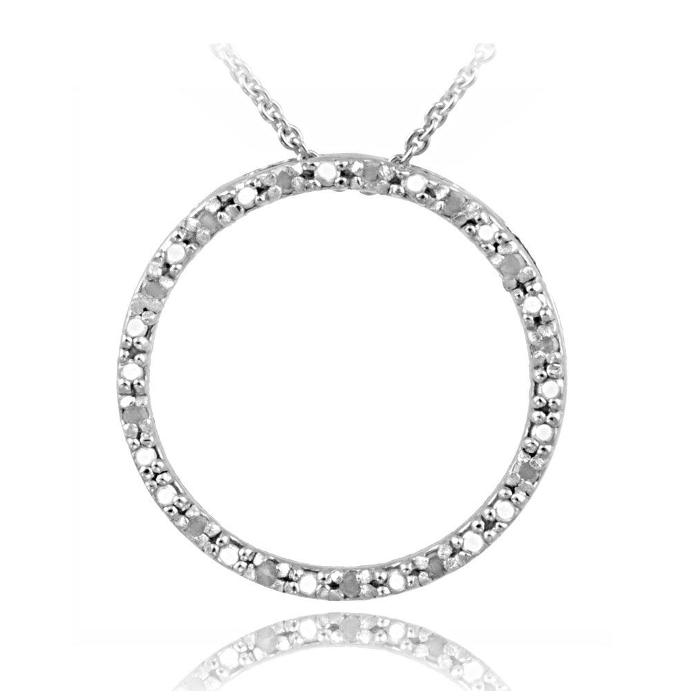 DB Designs Sterling Silver 1/8ct TDW Diamond Circle Necklace (J, I3)