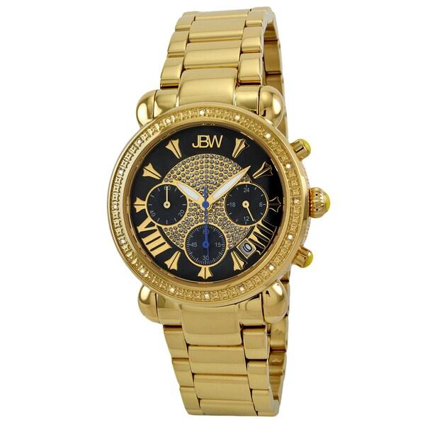 Jbw Women's Goldtone Black Dial Chronograph Diamond Watch 9077907