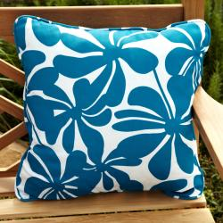 Penelope Blue/ White Floral 22-inch Square Outdoor Pillows (Set of 2)