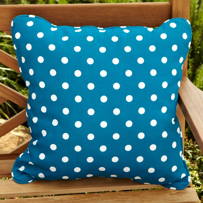 Penelope Blue/ White Dots 22-inch Square Outdoor Pillow (Set of 2)