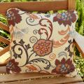 Clara Beige/ Grey 18-inch Square Indoor/ Outdoor Sunbrella Pillows (Set of 2)
