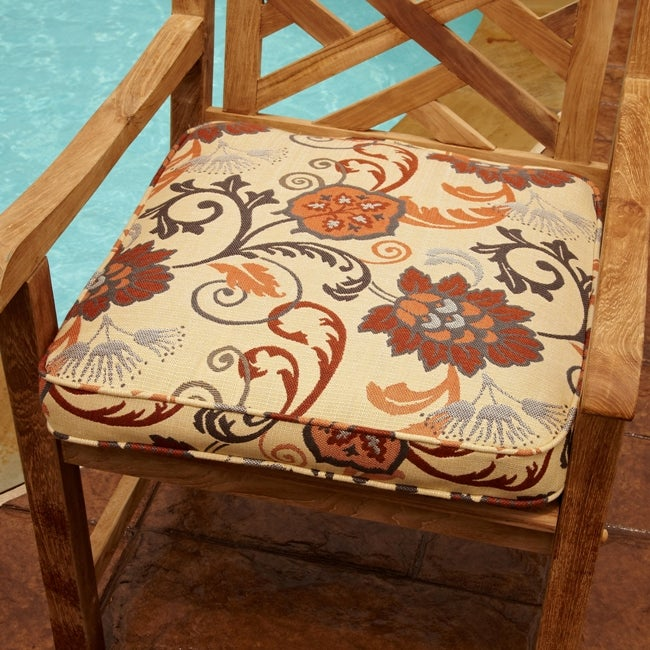 Clara Beige/ Rust Indoor/ outdoor 20-inch Square Outdoor Sunbrella Chair Cushion