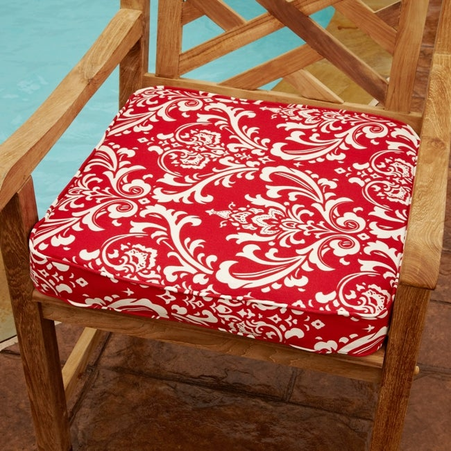 Penelope Red 19-inch Square Outdoor Chair Cushion