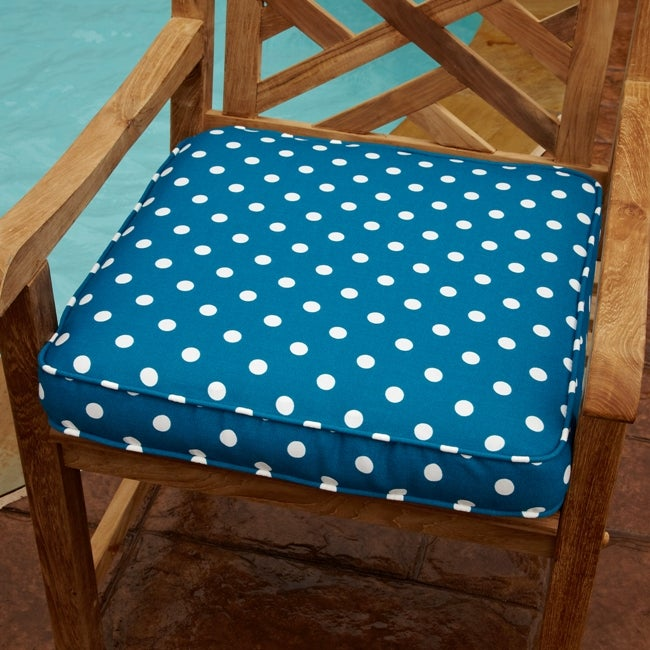 Penelope Blue/ White Dots 19-inch Square Outdoor Chair Cushion