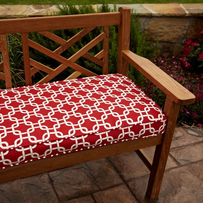 Penelope Red 48 Inch Reversible Outdoor Bench Cushion