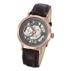 Stuhrling Original Men's Delphi Automatic Brown Leather Strap Watch