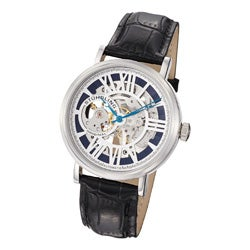 Stuhrling Original Men's Delphi Automatic Black Leather Strap Watch