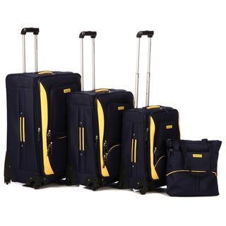 Nautica Downhaul Navy/ Lighthouse Yellow 4-piece Luggage Set