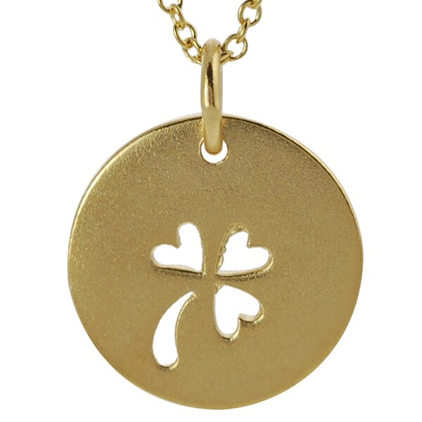 Journee Collection Gold over Silver Cut-out Clover Disc Necklace
