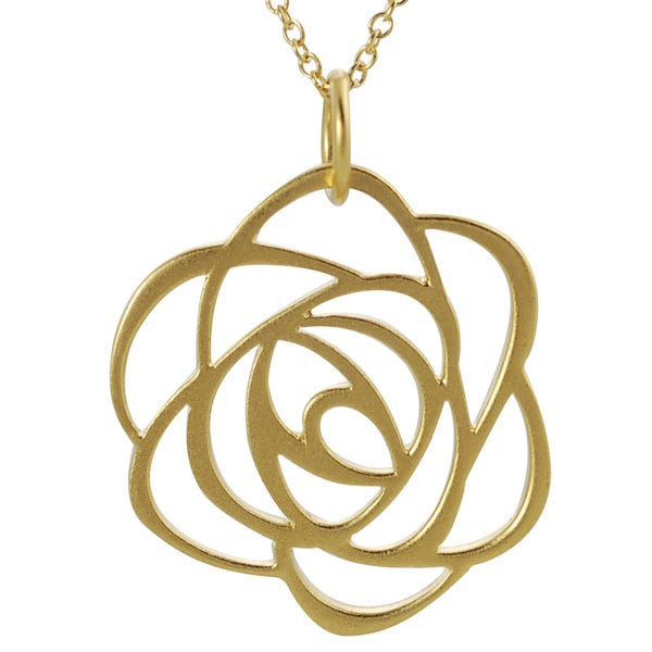 Journee Collection Gold over Silver Cut-out Flower Necklace