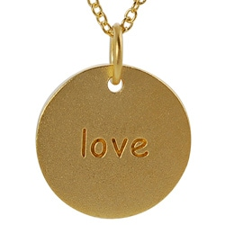 Journee Collection  Gold over Silver 'Love' Disc Necklace