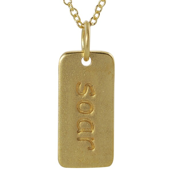 Journee Collection Gold over Silver 'Soar' Tag Necklace