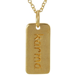Tressa Gold over Silver 'Karma' Tag Necklace