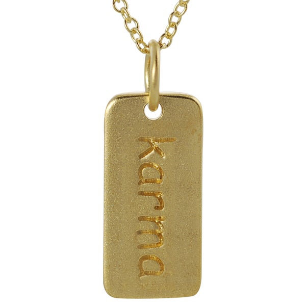 Journee Collection Gold over Silver 'Karma' Tag Necklace