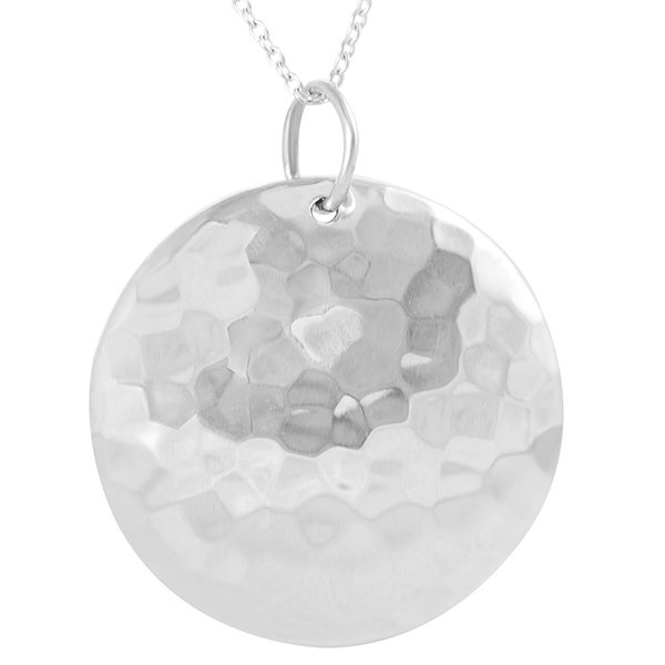 Journee Sterling Silver Hammer Finish Circle Dome Necklace