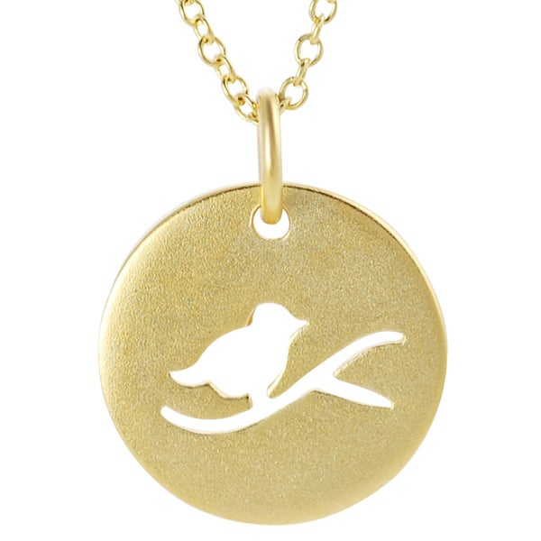 Journee Collection Yellow-gold over Sterling Silver Cut-out Bird Pendant Necklace
