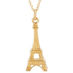 Journee Collection Satin-finish Gold-over-silver Eiffel Tower Pendant Necklace