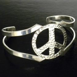 Silver Overlay Cuff Peace Bracelet (Mexico)