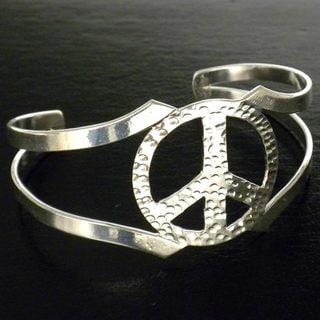 Silver Overlay Cuff Peace Bracelet (Mexico)