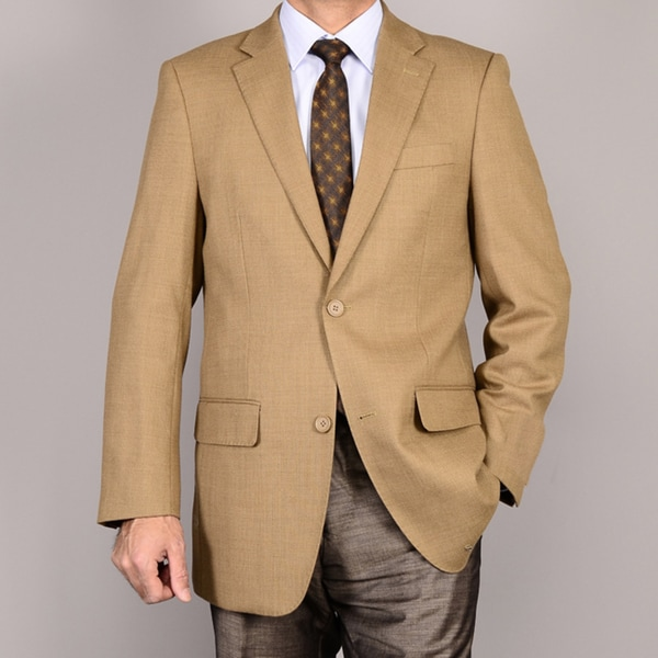 Men's Camel 2-Button Wool Sport Coat