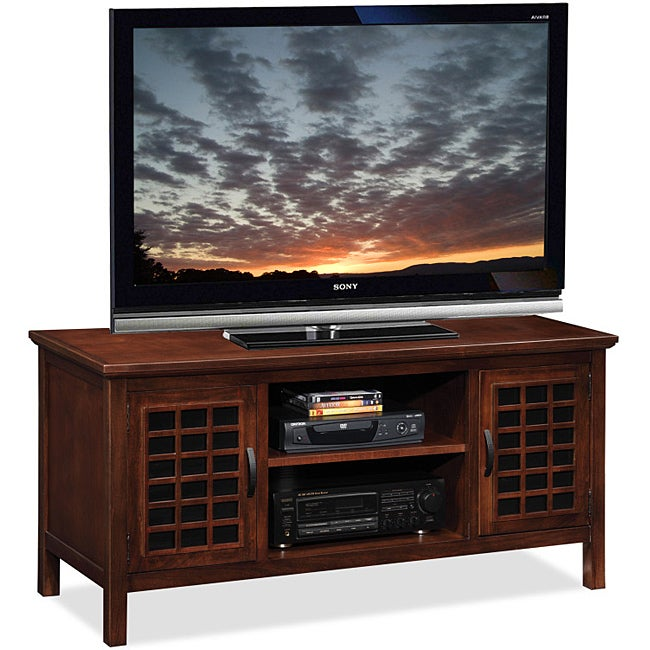 chocolate black glass 50 inch tv stand media console 14248357 shopping. Black Bedroom Furniture Sets. Home Design Ideas