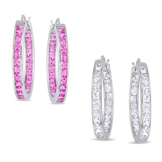 Miadora Sterling Silver 6 1/4ct TGW Created Pink or White Sapphire Earrings