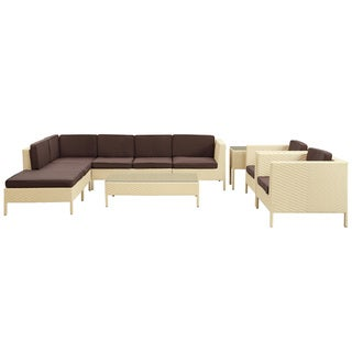 La Jolla Outdoor Rattan Tan with Brown Cushions 9-piece Set