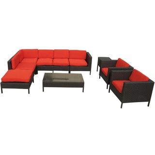 La Jolla Outdoor Rattan Espresso with Red Cushions 9-piece Set