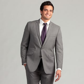 Ben Sherman Men's Light Grey Striped Slim Fit Wool Suit