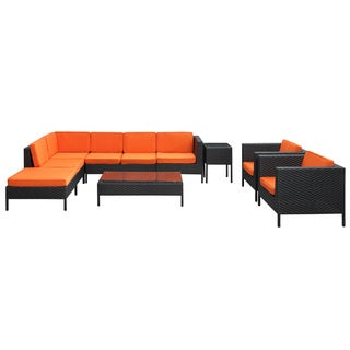 La Jolla Outdoor Rattan Espresso with Orange Cushions 9-piece Set