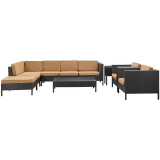 La Jolla Outdoor Rattan Espresso with Mocha Cushions 9-piece Set