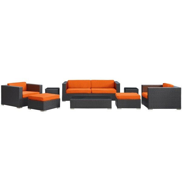 Venice Outdoor Rattan Espresso with Orange Cushions 8-piece Set