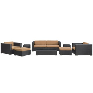 Venice Outdoor Rattan Espresso with Mocha Cushions 8-piece Set