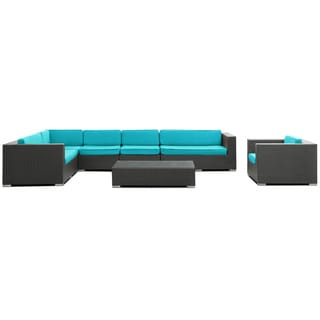 Palm Springs Outdoor Rattan 7-piece Set in Espresso with Turquoise Cushions