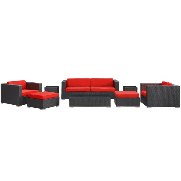 Venice Outdoor Rattan Espresso with Red Cushions 8-piece Set