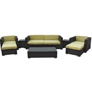 Venice Outdoor Rattan Espresso with Peridot Cushions 8-piece Set