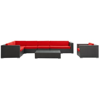 Palm Springs Outdoor Rattan 7-piece Set in Espresso with Red Cushions