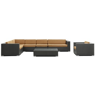 Palm Springs Outdoor Rattan 7-piece Set in Espresso with Mocha Cushions