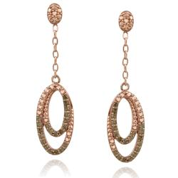 DB Designs Rose Gold over Silver 2/5ct TDW Brown Diamond Double Oval Earrings