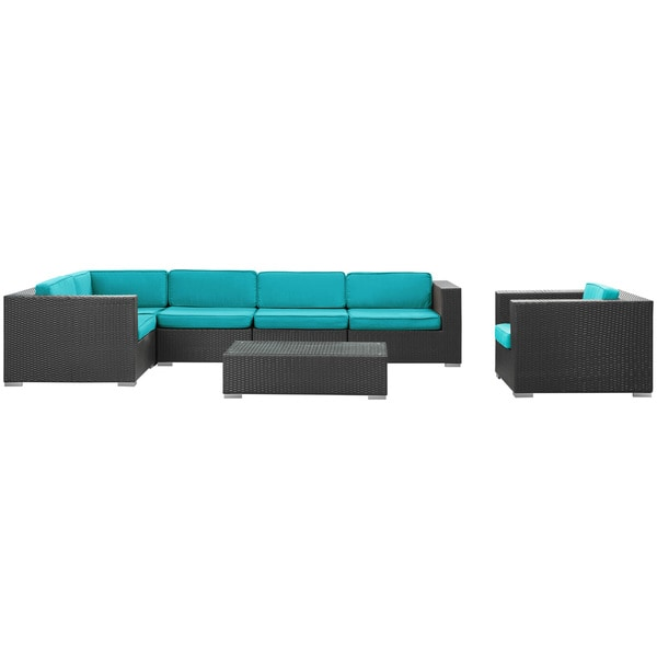 Corona Outdoor Rattan 7-piece Set in Espresso with Turquoise Cushions