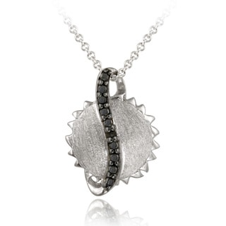 DB Designs Sterling Silver Black Diamond Accent Celestial Sun Necklace