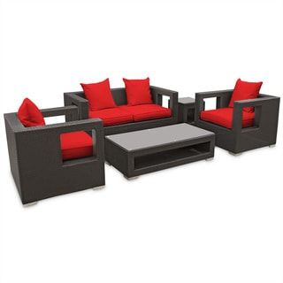 Lunar Outdoor Rattan 5-piece Set in Espresso with Red Cushions