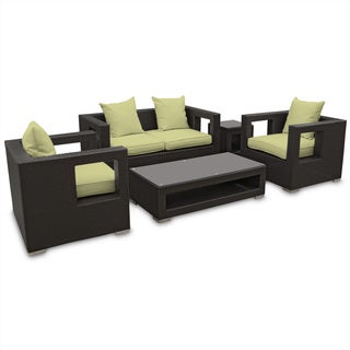 Lunar Outdoor Rattan 5-piece Set in Espresso with Peridot Cushions