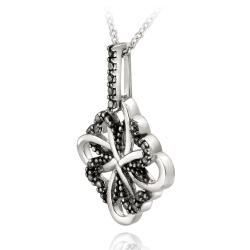 DB Designs Sterling Silver Black Diamond Accent Heart and Clover Design Necklace