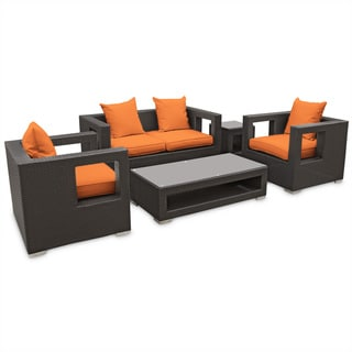 Lunar Outdoor Rattan 5-piece Set in Espresso with Orange Cushions
