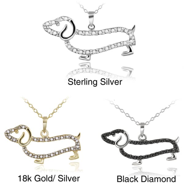 DB Designs Sterling Silver Diamond Accent Dachshund Dog Necklace